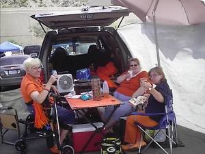 Mom, Cody and Jess tailgating