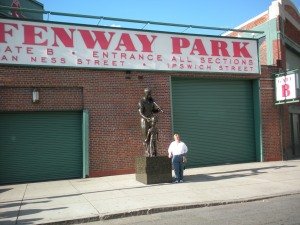 Me outside Fenway at the Ted Williams statue